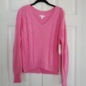 NEW Abound 100% Cotton Cable Knit V-neck Sweater